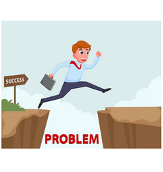 businessman jump over cliff vector image