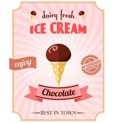 Chocolate ice cream poster vector image
