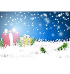 Christmas blue background with gift boxes vector image vector image