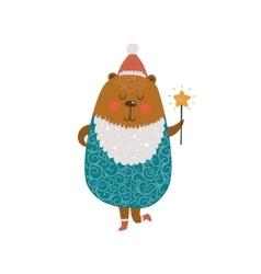 Christmas cute bear vector image