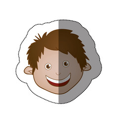 color sticker face boy icon vector image vector image