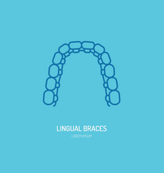 Dentist orthodontics line icon of lingual braces vector
