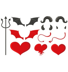 Devil set with trident and other elements vector image vector image