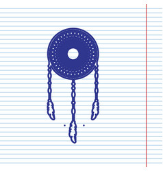 Dream catcher sign navy line icon on vector