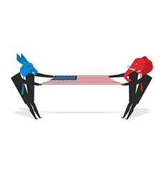 Elephant and donkey pulled american flag democrats vector