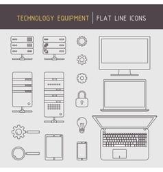 Flat line technology equipment vector image