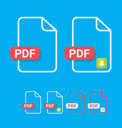 Flat pdf file icon and pdf download icon vector