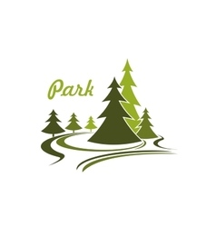 Flowing green park icon or emblem vector image