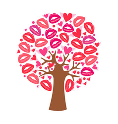 greeting card with a tree hearts and lips traces vector image
