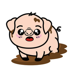 Isolated cute standing pig vector