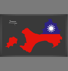 jinmen taiwan map with taiwanese national flag vector image