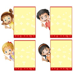 Kids and signs vector image vector image