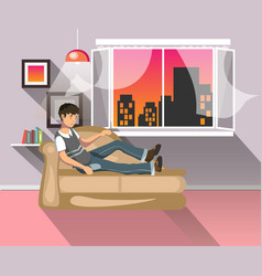living room with man vector image vector image