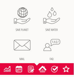 mail save water and faq speech bubble icons vector image vector image