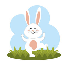 Nice and funny rabbit dancing vector