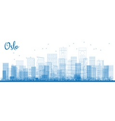 Outline Oslo Skyline with Blue Buildings vector image vector image