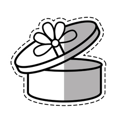Round gift box ribbon festive linea shadow vector