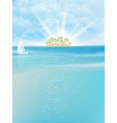 Sea island blue sky sand sun EPS 10 vector image
