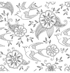 Seamless pattern with swallow bird flying in vector