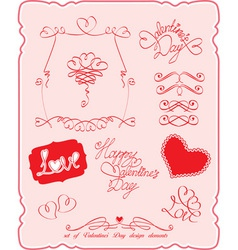 Set of Valentines Day symbols and design elements vector image vector image