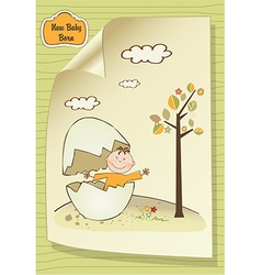 Welcome baby card with broken egg and little baby vector