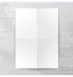 White paper banner against brick wall vector