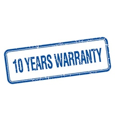 10 years warranty blue square grungy vintage vector