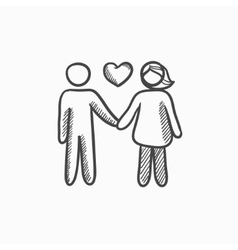 Couple in love sketch icon vector