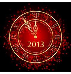Red and gold new year clock vector