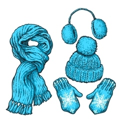 Set of blue knotted scarf hat ear muffs and vector