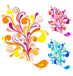 Colorful bird with floral swirls vector