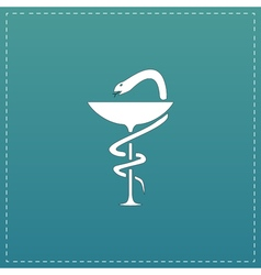 Pharmacy icon caduceus symbol bowl with a snake vector