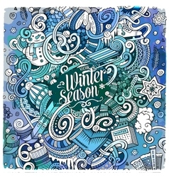 Cartoon doodles winter season vector