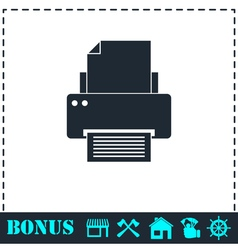 Printer icon flat vector