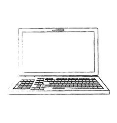 Blurred silhouette image front view laptop vector