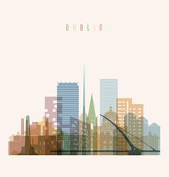 dublin skyline detailed silhouette vector image