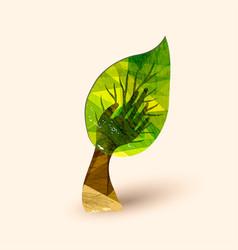 Hand tree green environment help vector