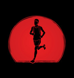 Running man sport man sprinter marathon runner vector