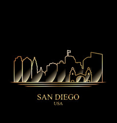 Gold silhouette of san diego on black background vector