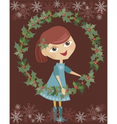 Girl holding wreaths vector