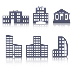Buildings flat design web icons set vector