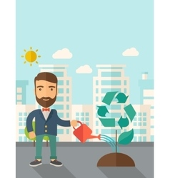 Man watering a tree vector image