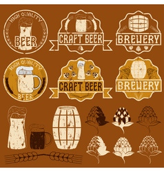 Set of grunge beer emblems vector