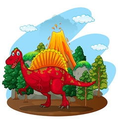 Red dinosaur with volcano behind vector