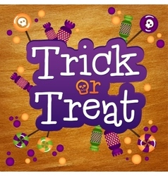 Trick or treat happy halloween greeting card gold vector