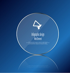 Glass ring template element on blue background vector