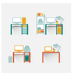 Computer and table design vector