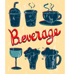 Different kind of beverage in vintage design vector