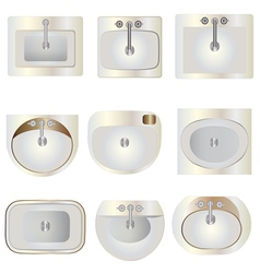 Bathroom wash basin set 9 top view for interior vector