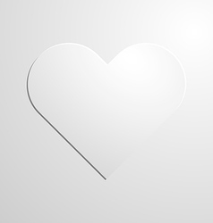 White paper heart icon on background vector